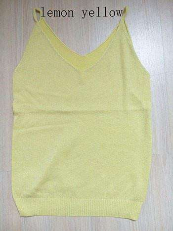 Icecream Camisole Crop Top - Glittering Knitted Stretch Slim Tank Top In 9 colors - HerFitness - 8