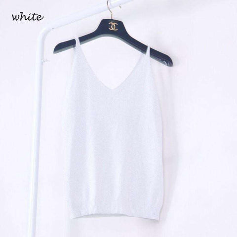Icecream Camisole Crop Top - Glittering Knitted Stretch Slim Tank Top In 9 colors - HerFitness - 9