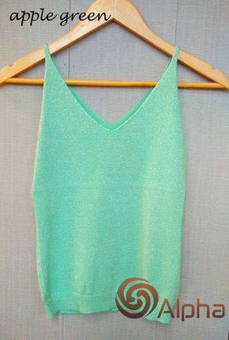 Icecream Camisole Crop Top - Glittering Knitted Stretch Slim Tank Top In 9 colors - HerFitness - 13