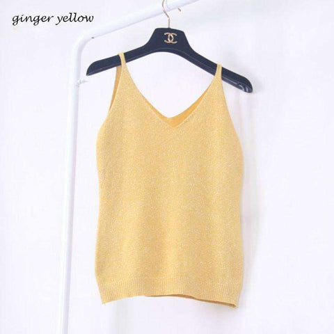 Image of Icecream Camisole Crop Top - Glittering Knitted Stretch Slim Tank Top In 9 colors - HerFitness - 6