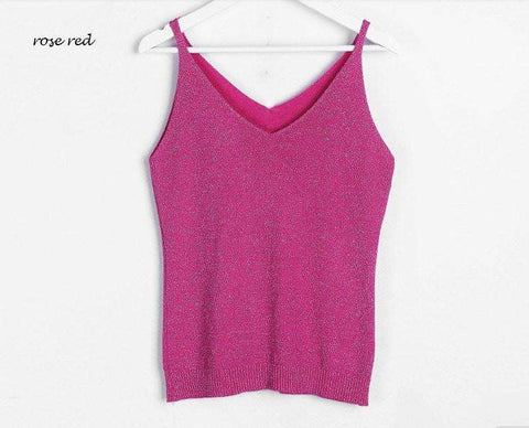 Image of Icecream Camisole Crop Top - Glittering Knitted Stretch Slim Tank Top In 9 colors - HerFitness - 7