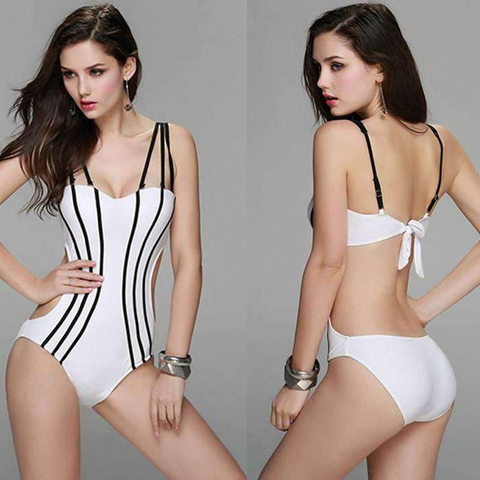 Strappy One Piece Swimsuit With A Sexy Two Piece Look Tie Back In 4 Fabulous Colors