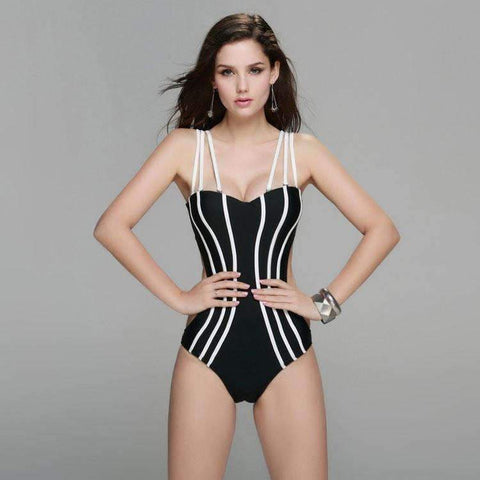 Image of Strappy One Piece Swimsuit With A Sexy Two Piece Look Tie Back In 4 Fabulous Colors