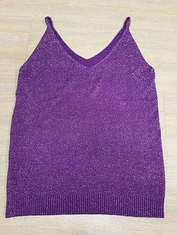 Icecream Camisole Crop Top - Glittering Knitted Stretch Slim Tank Top In 9 colors - HerFitness - 15