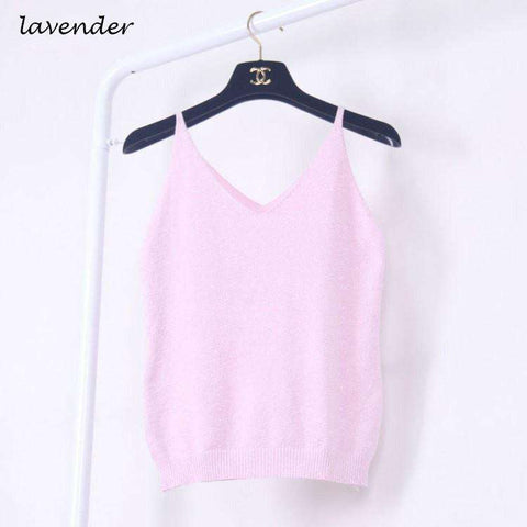 Image of Icecream Camisole Crop Top - Glittering Knitted Stretch Slim Tank Top In 9 colors - HerFitness - 16