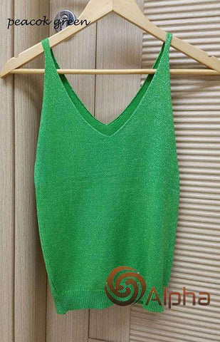 Icecream Camisole Crop Top - Glittering Knitted Stretch Slim Tank Top In 9 colors - HerFitness - 2