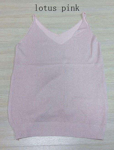 Icecream Camisole Crop Top - Glittering Knitted Stretch Slim Tank Top In 9 colors - HerFitness - 11