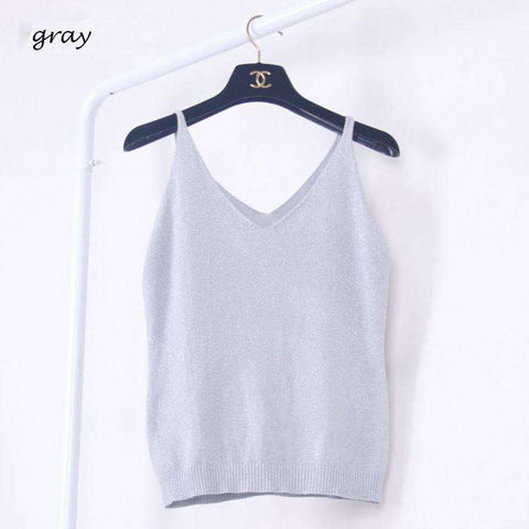 Icecream Camisole Crop Top - Glittering Knitted Stretch Slim Tank Top In 9 colors - HerFitness - 14