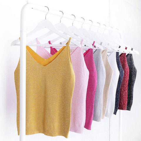 Image of Icecream Camisole Crop Top - Glittering Knitted Stretch Slim Tank Top In 9 colors - HerFitness - 1