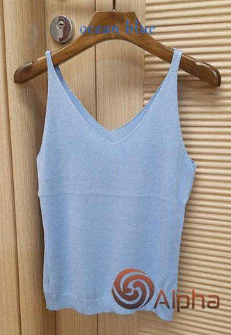Icecream Camisole Crop Top - Glittering Knitted Stretch Slim Tank Top In 9 colors - HerFitness - 5