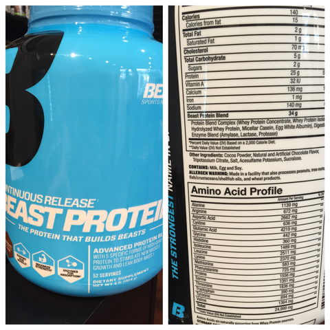 NutriFit Cleveland - Beast Sports Protein Supplement Facts