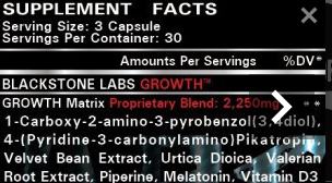 NutriFit Cleveland - Blackstone Labs Growth Supplement Facts