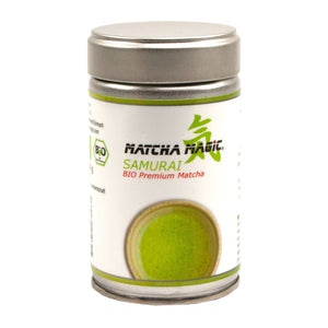 Samurai en pols de te verd Matcha 80 g de Matcha Magic, disponible a la botiga en línia Matcha Magic.