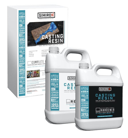 Simiron Casting Epoxy 1.5 Gallon Kit for River Tables, Live Edge Wood, Silicone Resin Molds & More