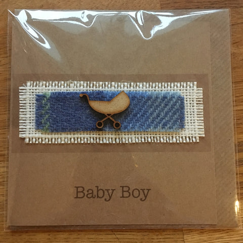 New Baby Boy Card - Pram - The Bramble Bush