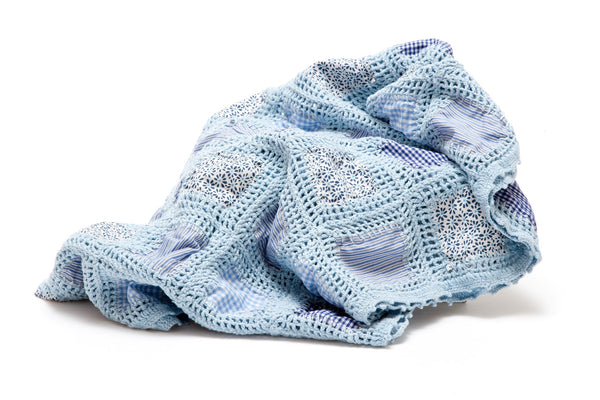 Crochet Patchwork Blanket - Blue - The Bramble Bush