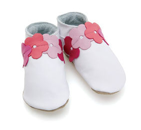 Blooming White/Pink Soft Leather Baby Shoes - The Bramble Bush