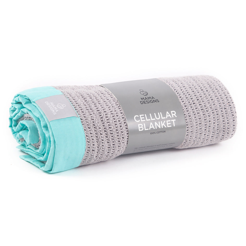 Cellular Cot Blanket - Grey with turquoise edge