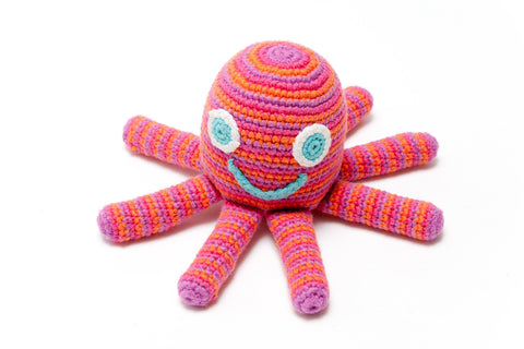 Octopus Toy Rattle, Crochet - Pink/Purple - The Bramble Bush