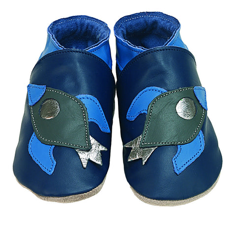 Rocket Navy Soft Leather Baby Shoes - The Bramble Bush