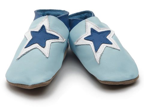 Stardom Baby Blue Soft Leather Baby Shoes - The Bramble Bush