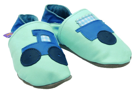 Tractor Baby Blue Soft Leather Baby Shoes - The Bramble Bush