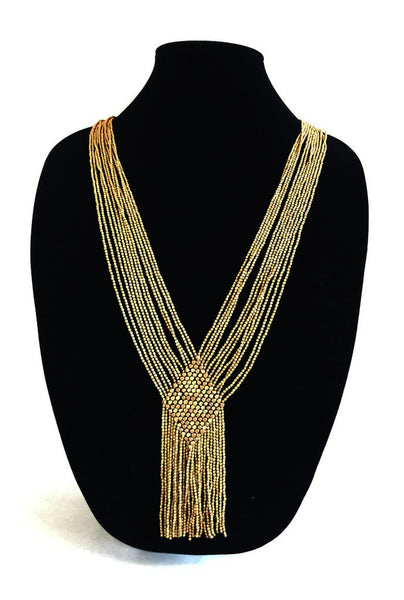 Diamond, Multi-Strand, Brass Necklace
