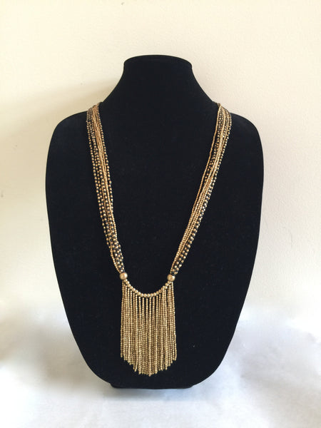 Black/Gold Brass Tassle Necklace