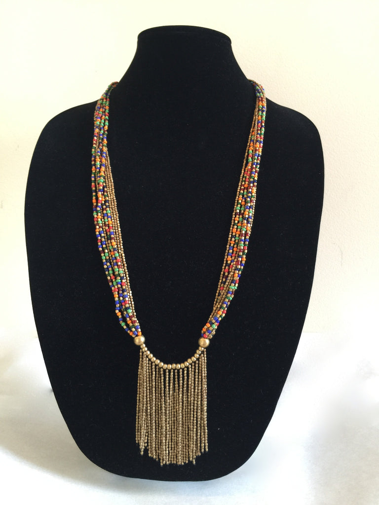 Colorful, Multi-Strand, Brass Necklace