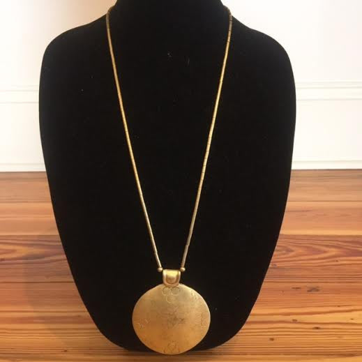 Long Brass Pendent Necklace