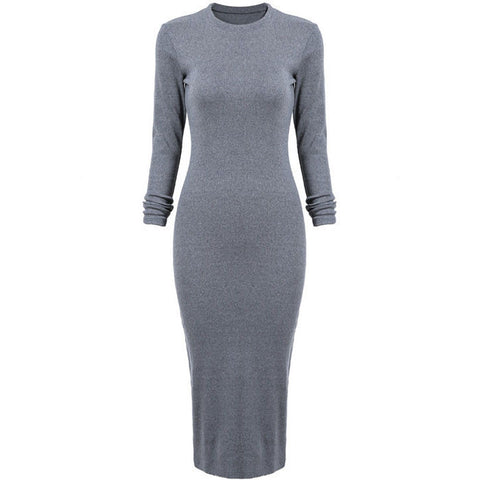 Grey Round Neck Skinny Split Dress - J20Style