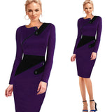 Elegant Patchwork Full Sleeve Bodycon - J20Style - 6