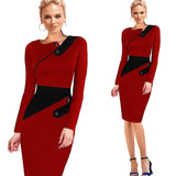 Elegant Patchwork Full Sleeve Bodycon - J20Style - 8