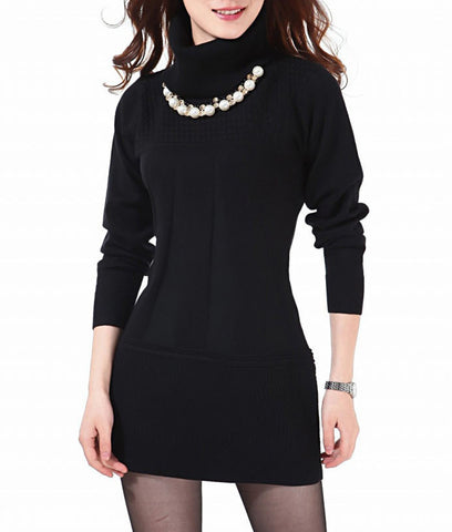 Casual Turtleneck Knitted Dress - J20Style - 3
