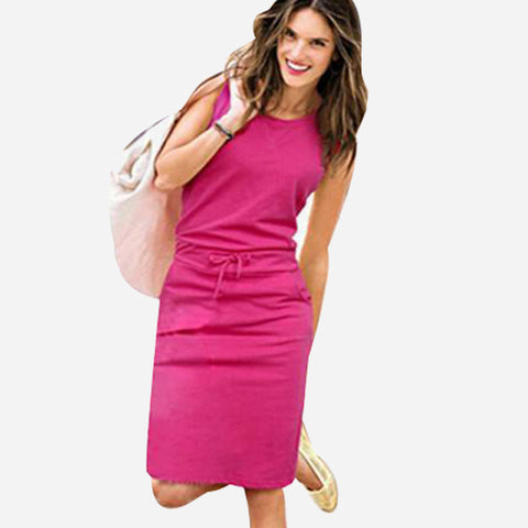 Summer Sleeveless Cotton Casual Dress - J20Style - 1