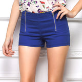 Candy Color Double Zips Hot Slim Shorts - J20Style - 1