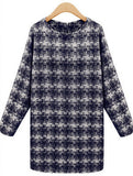 Round Neck and Long sleeves Plaid Dress - J20Style - 1