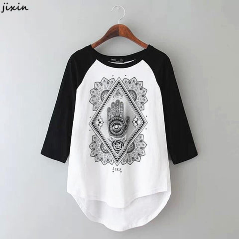 Black & White Patchwork Printed T-Shirt - J20Style - 2