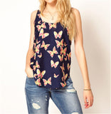 Women's Butterfly Print Tank Chiffon Sleevless Top