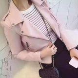 Women Motorcycle Faux Soft Leather Jackets