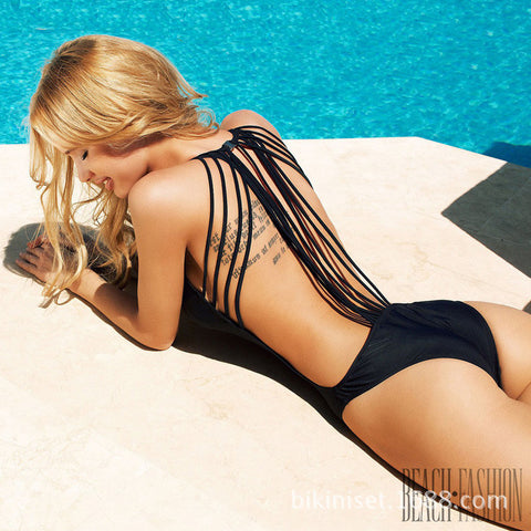 Strappy Backless One Piece Swimwear