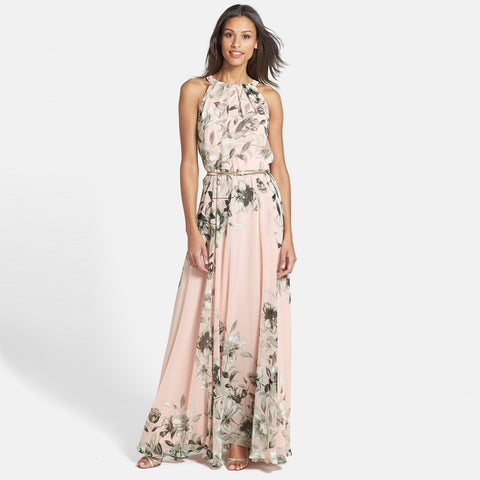 Floral Print Chiffon Maxi Dress Vestidos With Belt