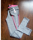 Women Winter Autumn light grey Pink High Waist Legging
