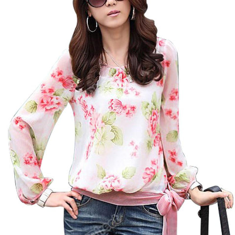 Floral Print Pattern Casual Puff Long Sleeve  Chiffon Blouse