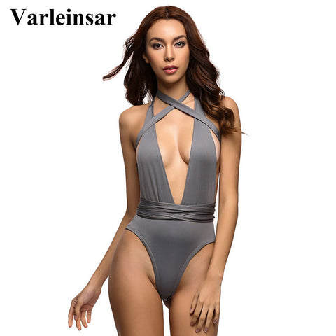 Deep V Neck wrap around High waist One Piece Swimsuit