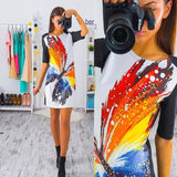 Printed Short Sleeve Slim Mini Spring Dress