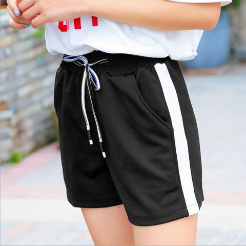 Black loose Lace striped workout shorts
