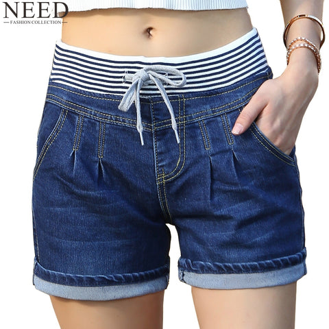 Summer High Waist Elastic Shorts