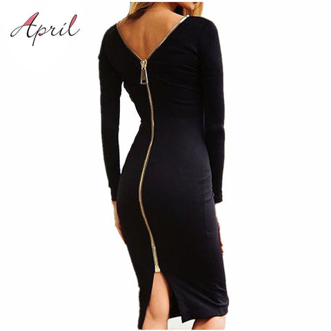 Bodycon Back Full Zipper Robe Sexy Pencil Tight Dress