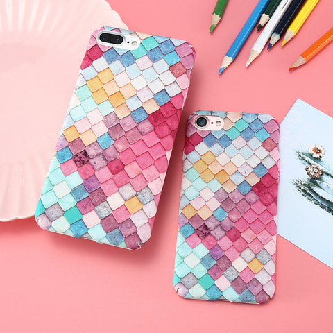 Candy Color Mermaid 3D Fish Scale Hard Cover for iPhone